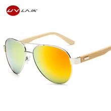 d0be9da690c UVLAIK Wooden Glasses Sunglasses Naturalun Bamboo Legs Sun Glasses Handmade  Bamboo Eyeglasses Metal Frame Wood Glasses