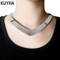 Fashion Jewelry Punk Heart Torques Necklace Shiny Silver 316L Stainless Steel Metal Trendy Torques Choker Necklace
