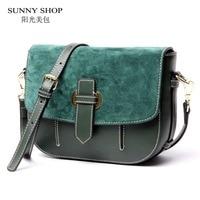 SUNNY SHOP 2017 New Vintage Small Women Messenger Bags Brand Designer Genuine Leather Women Bag Real