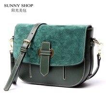 SUNNY SHOP 2017 Neue Vintage Kleine Frauen Messenger Bags Marke Designer Echtem Leder Frauen Tasche Aus Echtem Leder Umhängetaschen