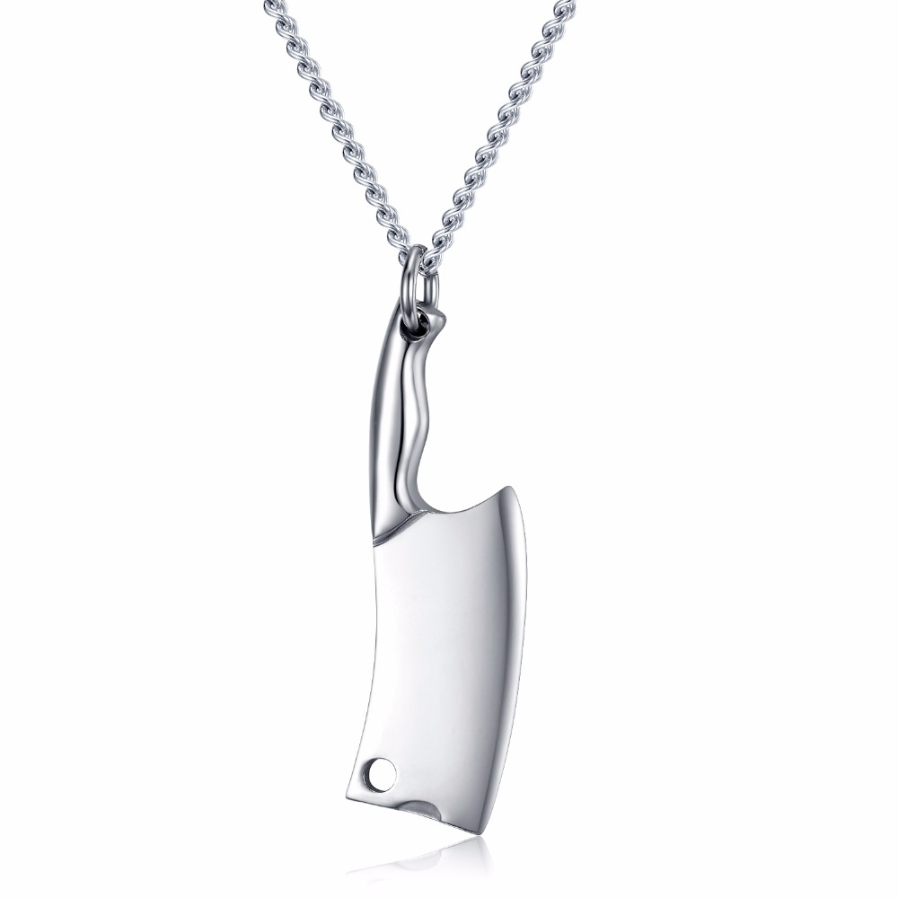 High Polished Stainless Steel Kitchen Knife Pendant Chef Necklace Jewish Gifts for Women and Men