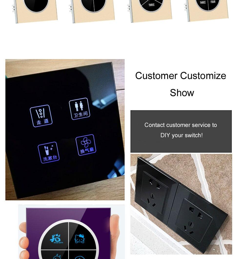 vidro toque interruptor de luz parede logotipo
