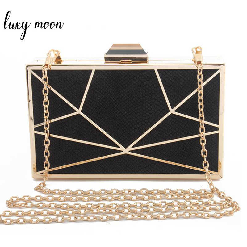 b1b41fbf421 LUXY MOON Geometric evening bags new women clutch bag party purse and handbag  chains shoulder bags