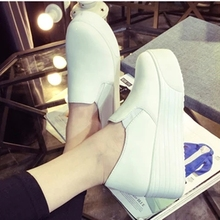 2016 Spring Summer Style Women Platform Shoes Woman Flats Loafers Canvas Espadrilles Slip On Ladies Creepers Thick Sole