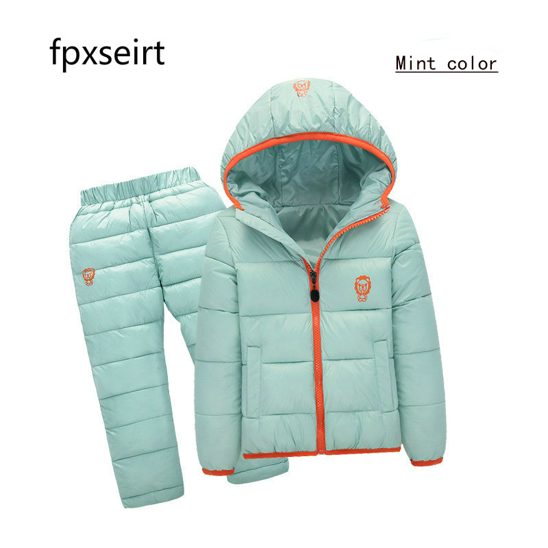 Winter Baby Boys Girls Clothes Kids Clothing Sets Hooded Down Jacket + Trousers Waterproof Snow Warm toddler Children Costume korea lace knitted sweaters warm dresses winter baby wear clothes girls clothing sets children dress child clothing kids costume