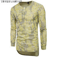 2018 Spring Men S T Shirt Long Section African Style Chief Design Jacquard Long Sleeve T