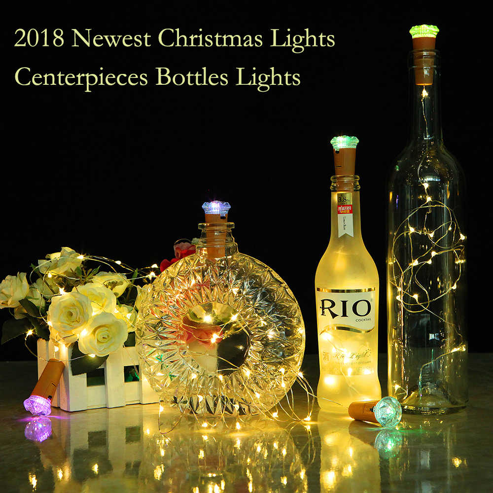 Wine Bottles Decorations Copper Wire String Cork Lights With Colorful Diamond Wedding Party Home Decor Christmas Garland Lights