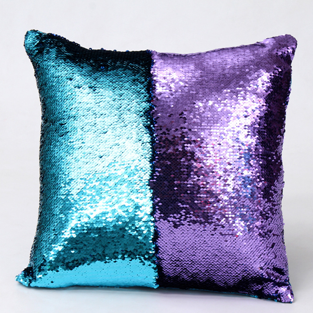 Image 2 - DIY Double Color Glitter fashion Sequins Throw Pillow Cover Sofa Bed Home Coffee Decoration 40cm*40cm Cushion Cover-in Cushion Cover from Home & Garden