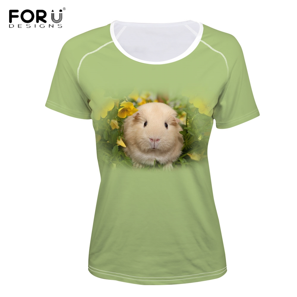 FORUDESIGNS Fashion Women O Neck T Shirts 3D Bunny Print Girls Tshirts Harajuku Summer Breath Short Sleeve Top Tee Shirts Cloth