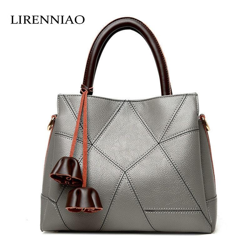 LIRENNIAO 2017 Fashion Cowhide Leather Bag Oblique Cross handbags Korean Casual Patchwork Bag Design Bag