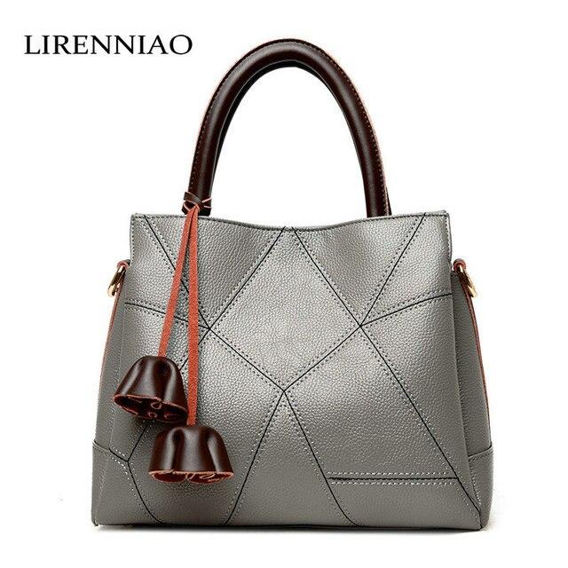 5fa469e992 LIRENNIAO 2018 Fashion Cowhide Leather Bag Oblique Cross handbags Korean  Casual Patchwork Bag Design Bag