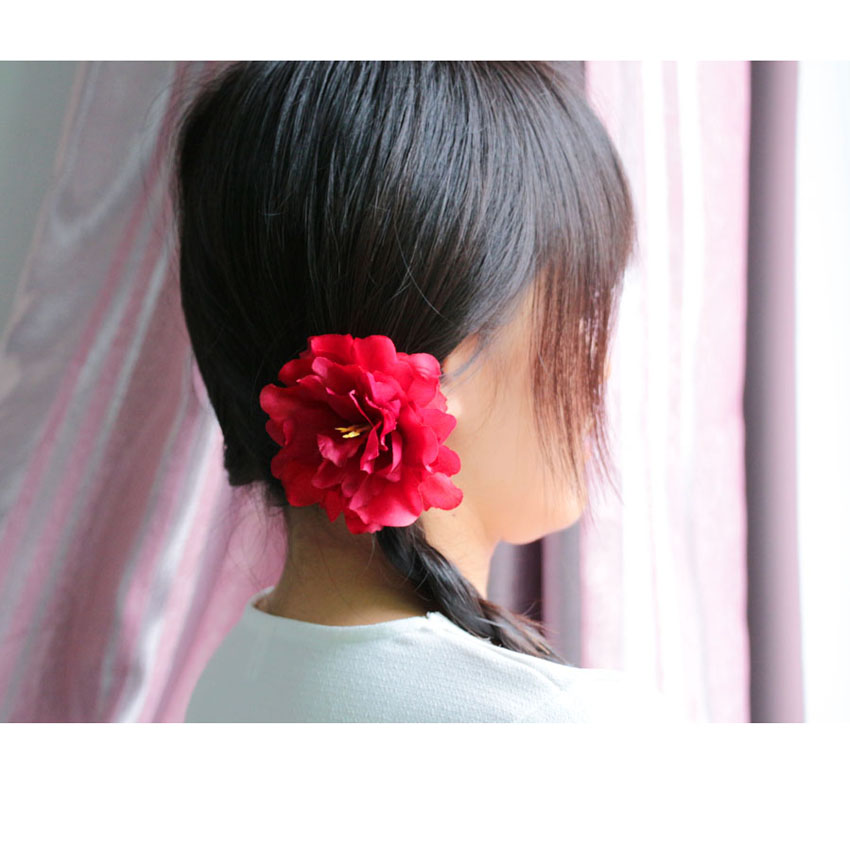 5pcs Hot Red Fashion Women Girls Hair Accessories Silk Peony Flower Hairpin Hair Clip For Wedding party Prom