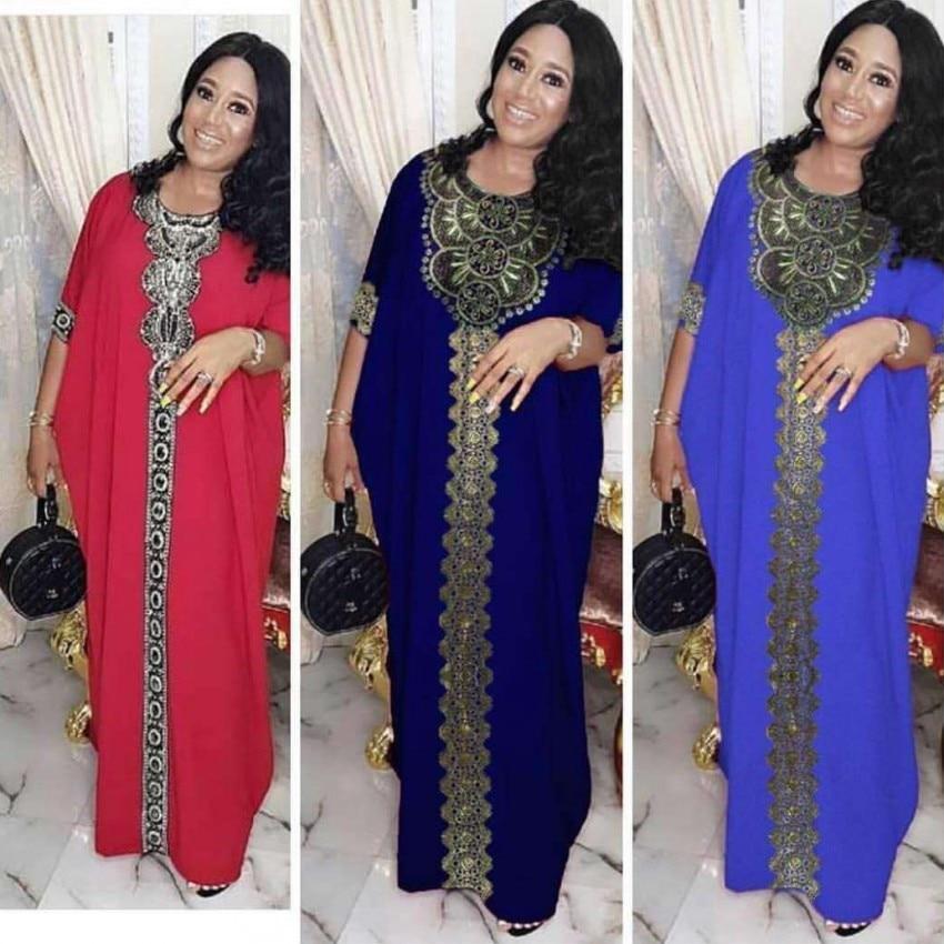 Afrikanische Kleider Für Frauen Afrika Kleidung AFrican Design Bazin Chiffon Lange Stick Diamant Hülse Dashiki Kleid Dame