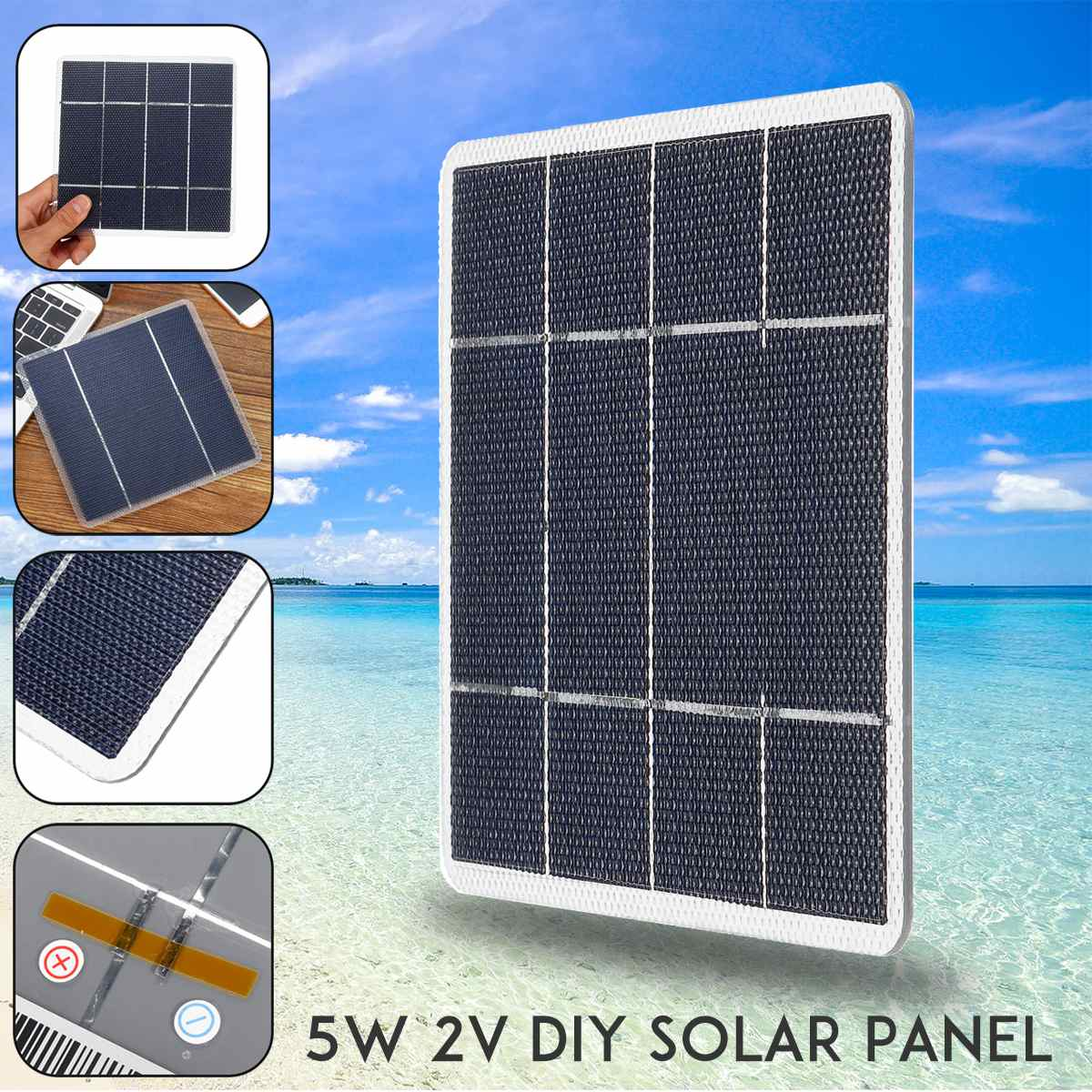 5W 2V 2.5A 170x170mm DIY Monocrystalline Solar Panel ETFE laminated Mono Silicon Cells Photovoltaic Grade A High Efficiency image