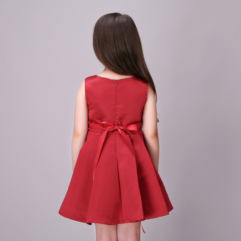 Image 5 - Girls Wedding Dress 2017 Sleeveless Fashion Bridesmaid Child Baby Red Dress Girl  2  10 11 12 13 Years Olds Spodnica-in Dresses from Mother & Kids on AliExpress