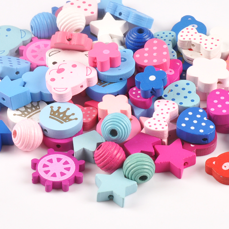 30pcs Mixed Color Mixed Style Pattern Wooden Spacer Beads