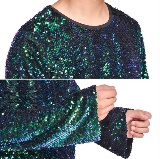 Sequins fashion punk slim sexy shirt men long sleeve shirt teenage korean shirt mens personality stage singer dance popular