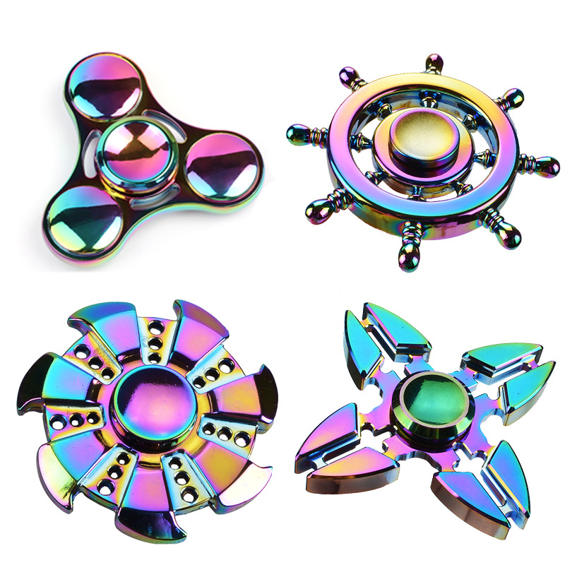 Rainbow Flower Hand Spinner Aluminum Alloy Fidget Spinner Metal Anti Stress Toys Adults Kid Colorful Printed