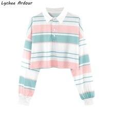 Harajuku Stripes Women Summer T Shirt Long Sleeve Turn Down Collar Tops Tees Hit Color Striped T Shirt Streetwear