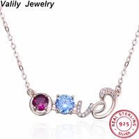Valily Women's Love Choker Necklace 925 Sterling Silver Zircon Pendant Necklace for Female Engagement Love Chain Necklace Jewel