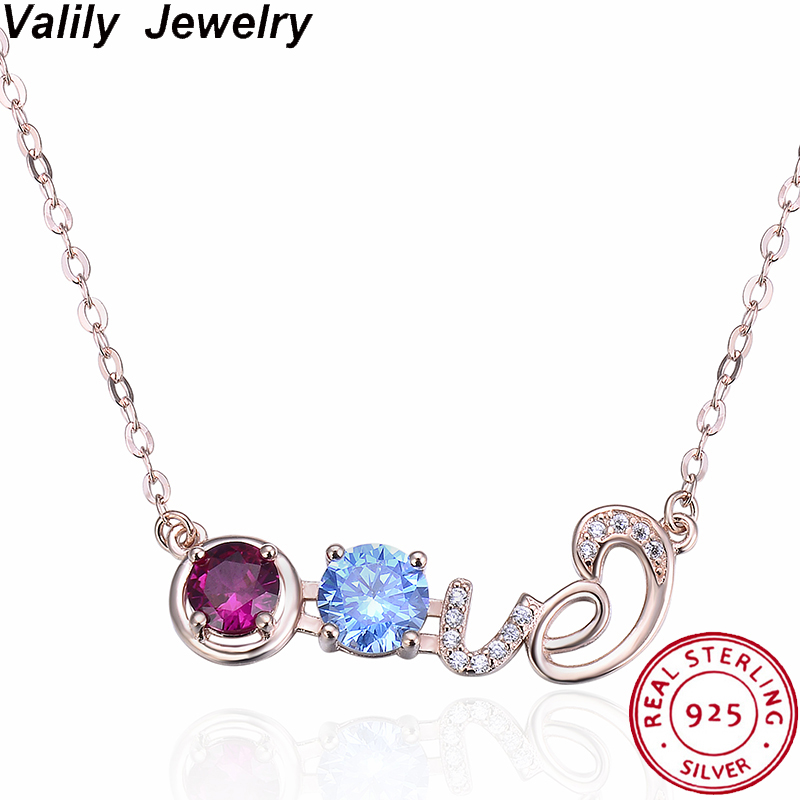 Valily femmes amour collier ras du cou 925 argent Sterling Zircon pendentif collier pour femme fiançailles amour chaîne collier bijou