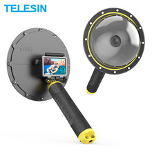 TELESIN 6 Dome Port Waterproof Diving Housing Case With Floating Handle For DJI Osmo Action Camera Lens Accessories