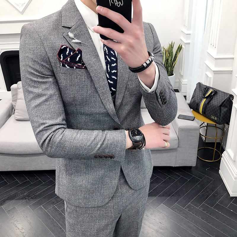 ( Jacket + Pants ) High end Brand Formal Groom Wedding Dress Suits Male Suit 2 Piece Set / Mens Solid Color Casual Business Suit-in Suits from Men's Clothing    2