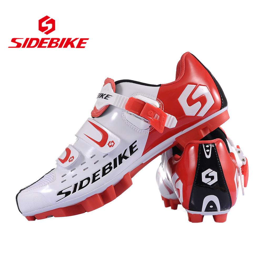 SIDEBIKE Men Women Bicycle Cycling Shoes Outdoor MTB Racing Athletic Shoe Breathable Mountain Bike Self-Locking Shoes, Red vik max athletic shoe women tricot lined figure ice skates shoes