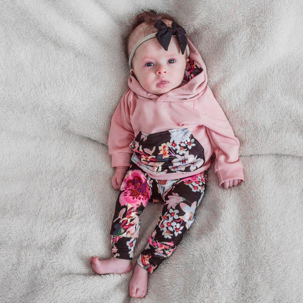 MUQGEW Newborn Girl Clothes Floral Hoodie Tops+Pants Outfit Clothes Set Cheap Newborn Clothing Baby 2017 Camisa Infantil QZ06