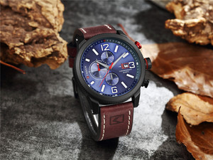 Image 4 - Brand New Fashion Quartz Mens Watch Chronograph Dial and Date Window Casual Business Wristwatch CURREN Leather Clock For Man