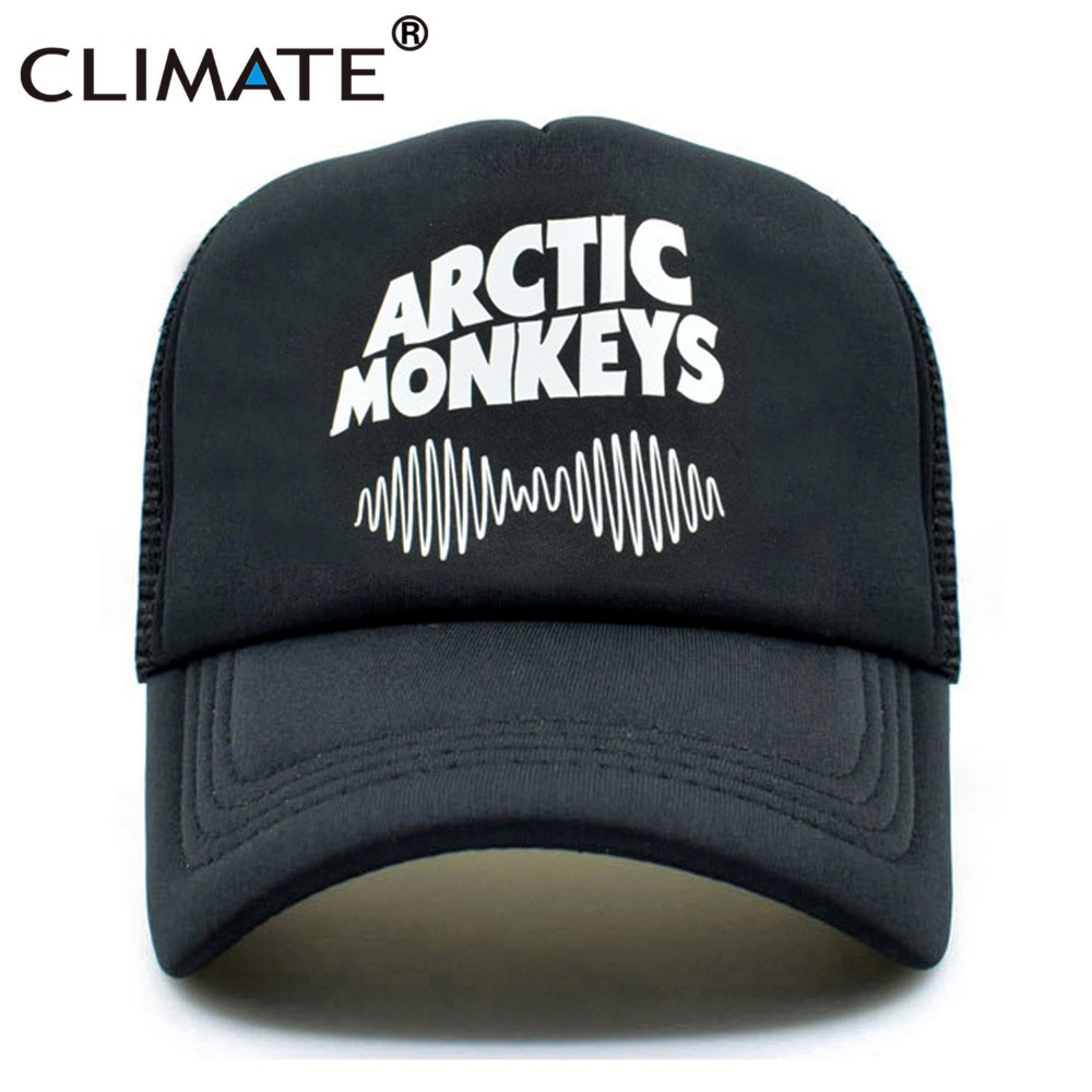 CLIMATE Women Men Arctic Monkeys Trucker Cap Punk Rock Music Summer Cool Summer Cap Black Baseball Net Trucker Caps Hat For Men