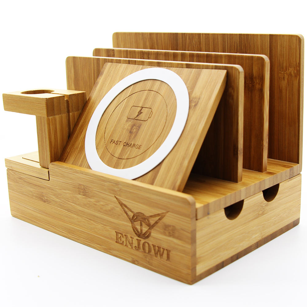 Wooden Fast Wireless Charger Desktop Storage Mobile Phone Stand Multifunction Charging Station For Iphone X 8 And Other In Holders