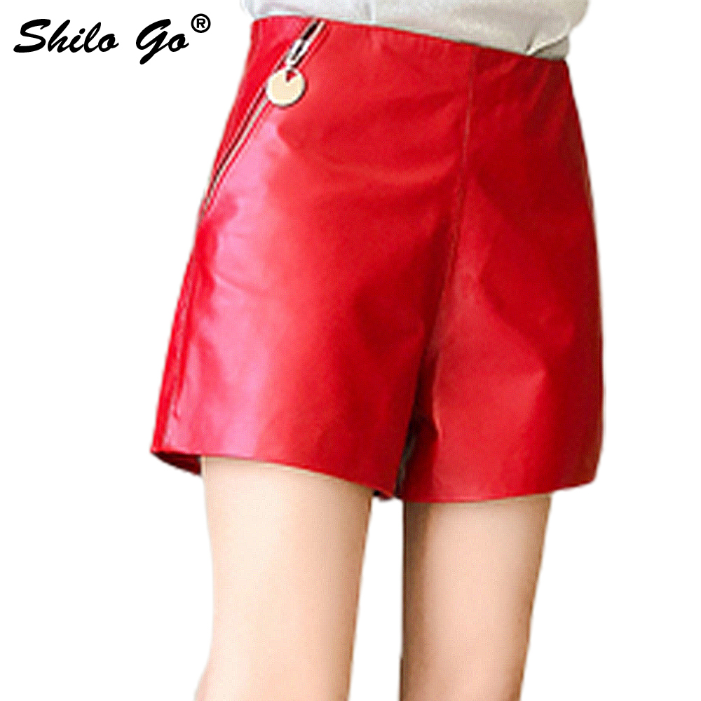 SHILO GO Leather Shorts Womens Summer Fashion Sheepskin Genuine Leather Shorts High Waist Side Metal Zipper Pocket Wide Leg