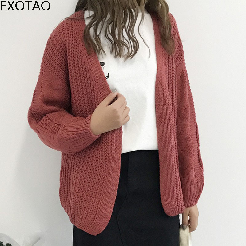 EXOTAO Women Knitting Cardigan Autumn Winter Hollow Out Solid V-Neck Female Sweater Open Stitch Long Sleeved Loose Jackets Coats