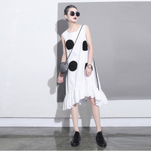 New 2017 Korean Summer Women Ruffles Chiffon Dress Large Dots Printed Sleeveless Irregular Sun dress Cute Midi Tank Dresses 1193
