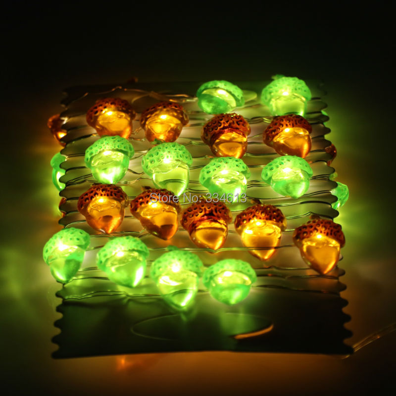 3M 40LED Battery Operated Christmas Acorn Nut Shaped String Lights Holiday Fairy Lights Decorative Silver Wire Halloween Lights