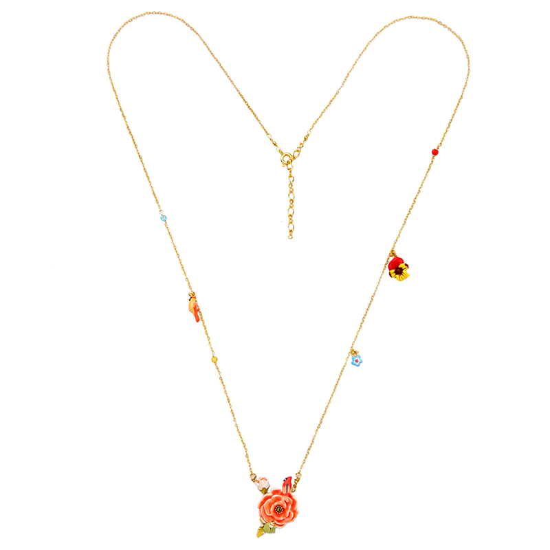 Summer Thin Chain Exquisite Colorful Flower Birds Chic Long Enamel Necklace Ladies Gold Color Jewelry