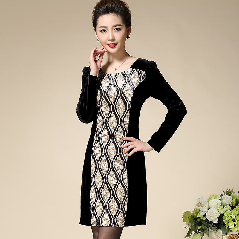 New Fashion Elegant Plus Size Mother Dress Slim Straight Patchwork O neck Casual Middle Aged Women