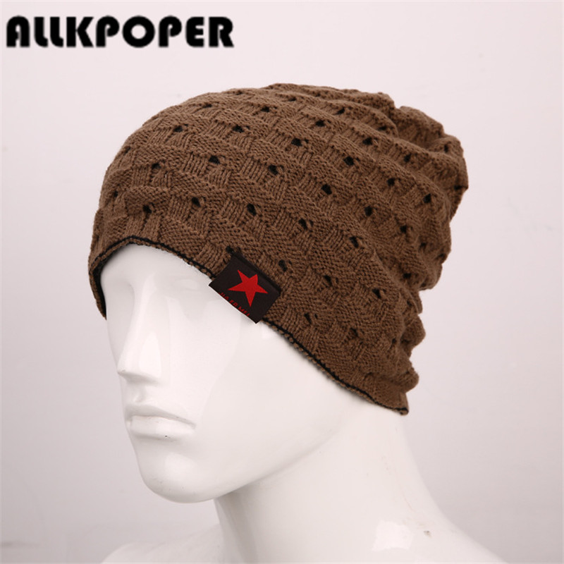 ALLKPOPER 2017 Autumn And Winter Bonnet Hats For Men and Women Beanie Stocking Hat Casual Keep Warm Knitted Hat Skullies&Beanies fashion printed skullies high quality autumn and winter printed beanie hats for men brand designer hats