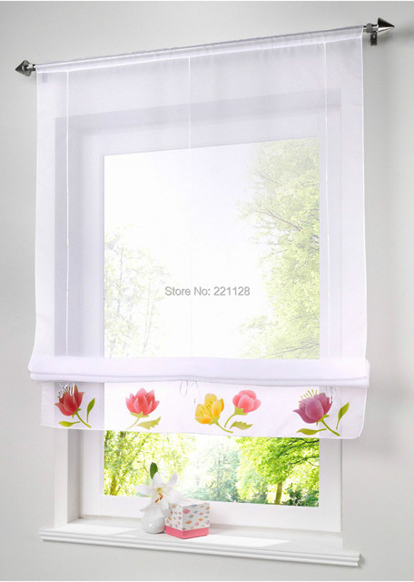 Printed Floral Curtain Ribbon Roman Blind Curtain With Rope For - Roman blind bathroom