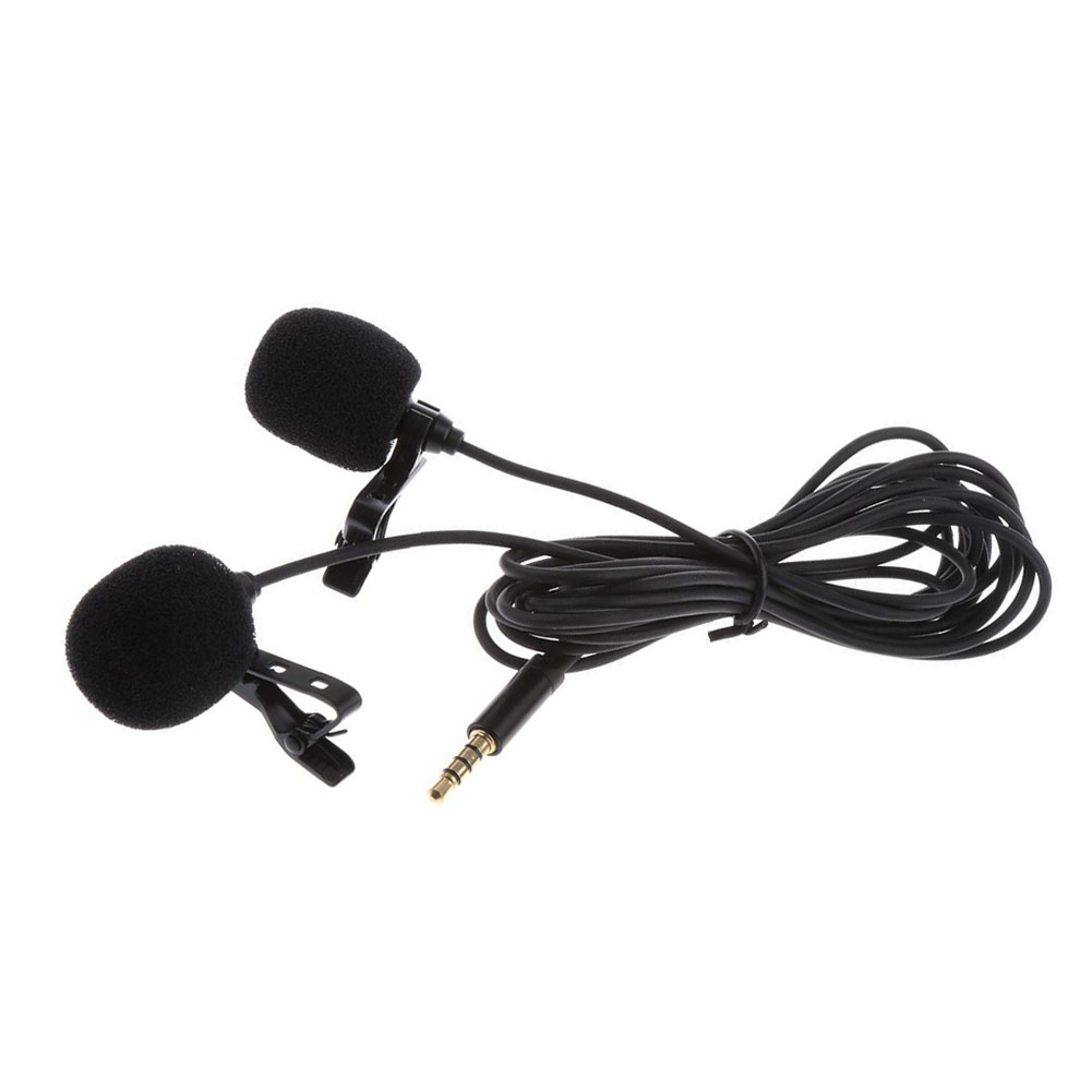 Mini Lavalier Lapel Microphone Dual Headed Recording Clip On Mic For IPhone IPad Samsung Tablet New Arrival