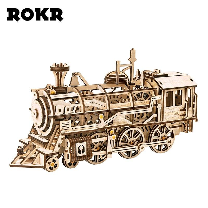 ROKR DIY 3D Wooden Puzzle Train Model Clockwork Gear Drive Locomotive Assembly Model Building Kit Toys For Children Adult LK701