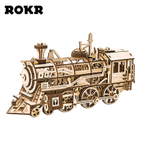 ROKR DIY 3D Wooden Puzzle Train Model Clockwork Gear Drive Locomotive Assembly Model Building Kit Toys for Children Adult LK701