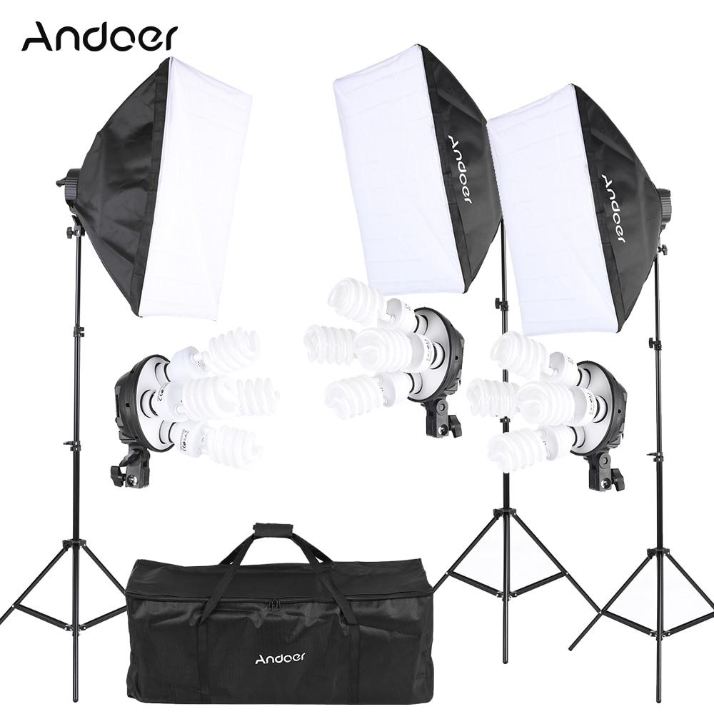 Andoer Photography Studio Portrait Light Lighting Tent Kit Photo Equipment (12*45W Bulb+3*4in1 Bulb Socket/Softbox/ Light Stand