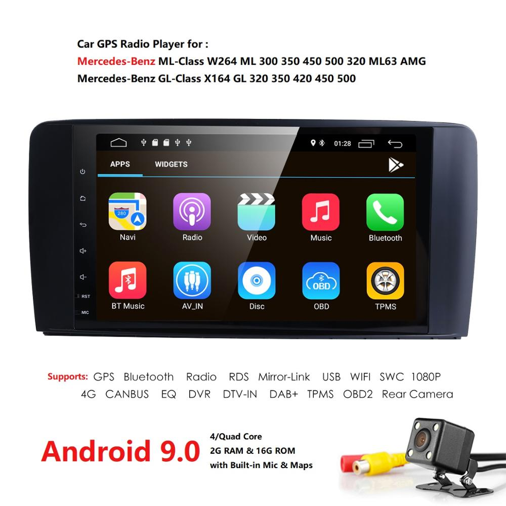 2 + 16 Android 9.0 AutoAudio jogador gps DO CARRO PARA O BENZ ML 320/ML 350/W164 (2005 -2012) unidade de cabeça dispositivo de navegação multimídia receptor