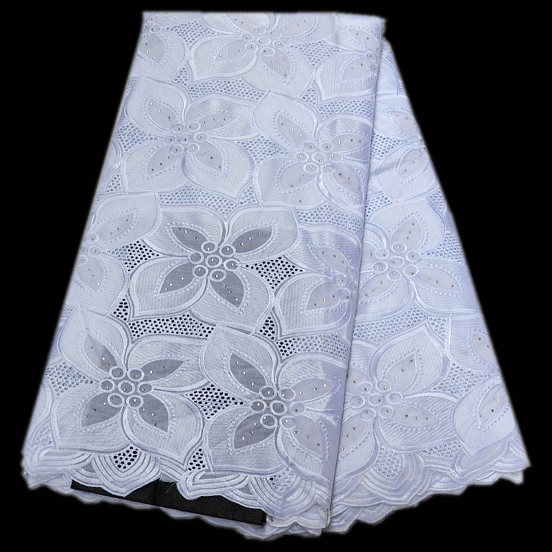 White color High Quality Swiss Voile Lace 2018 Africa Voile Swiss Lace Fabric African Cotton Voile Lace Fabric For Wedding Dress
