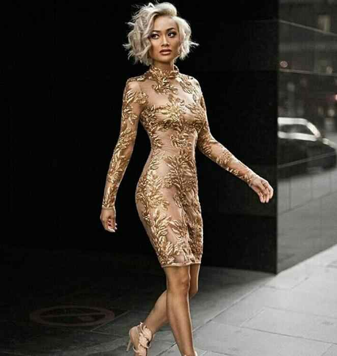 8acbbab16ea New Year Gold Bodycon Dress High Quality Luxury Christmas Party Dress  Winter Spring Mesh Long Sleeve
