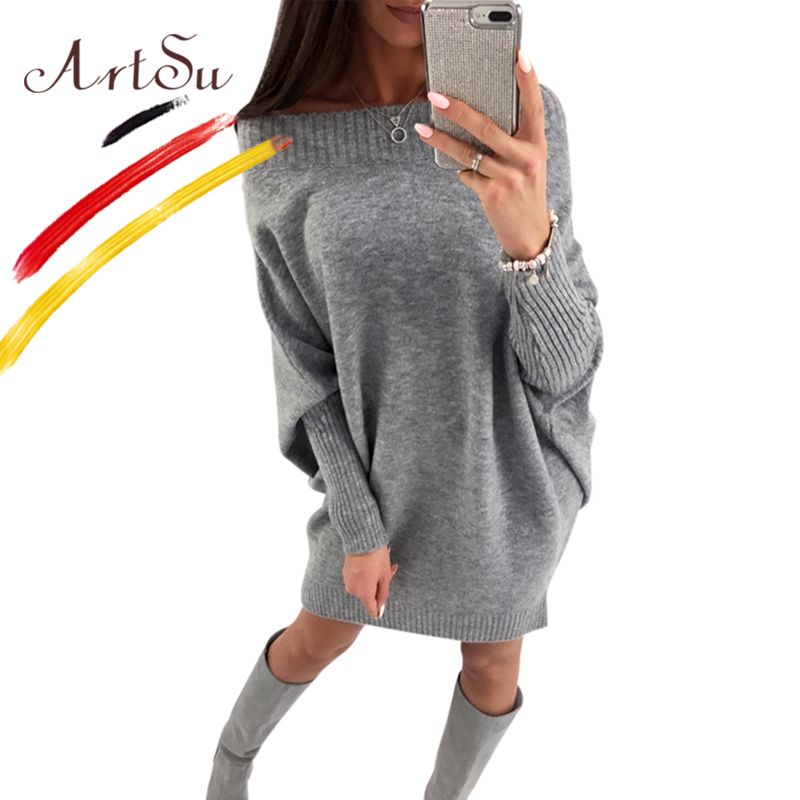 ArtSu Off Shoulder Batwing Sleeve Sexy Club Women Knitted Sweater Dress Female Slash Neck Casual Winter Dresses Loose Vestidos hot sale open front geometry pattern batwing winter loose cloak coat poncho cape for women