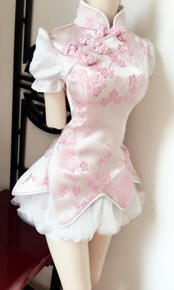 New Chinese style Chinese dress cherry blossom pink skirt 1/3 1/4 SD DD BJD Doll Clothes 1