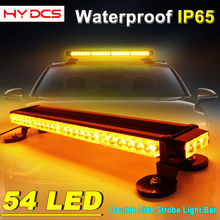 54 LED Strobe Car Warning Light 162W Emergency Double Side Bar Amber White
